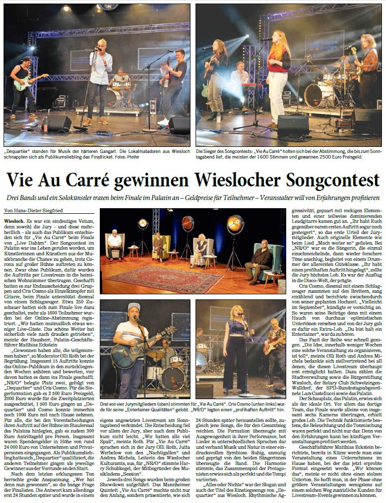 Vie Au Carré gewinnen 1. Wieslocher Songcontest